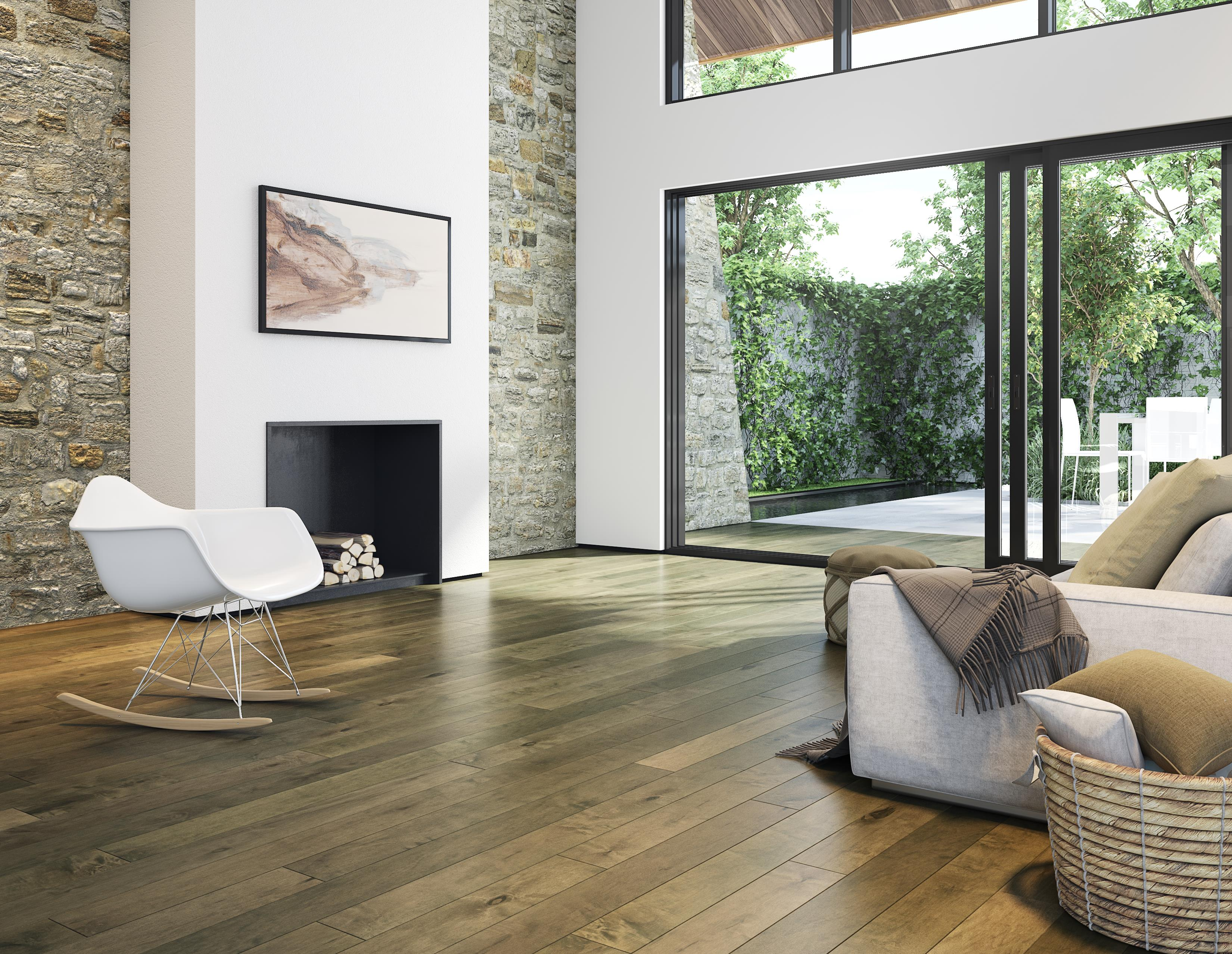 New living room flooring installed by hardwood floor store Bode Floors in Columbia, MD